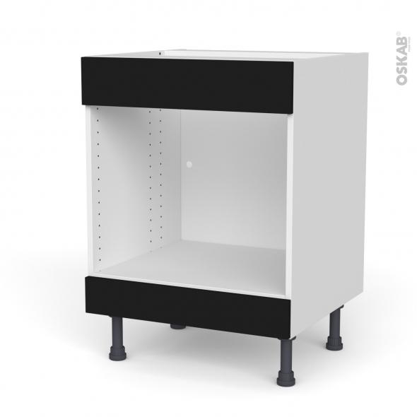 Meuble de cuisine - Bas MO encastrable niche 45 - Faux tiroir haut - GINKO Noir - L60 x H70 x P58 cm