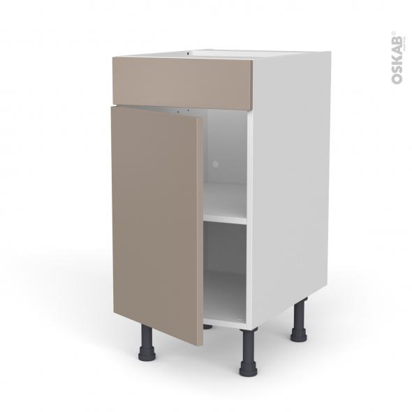 Meuble de cuisine - Bas - Faux tiroir haut - GINKO Taupe - 1 porte  - L40 x H70 x P58 cm