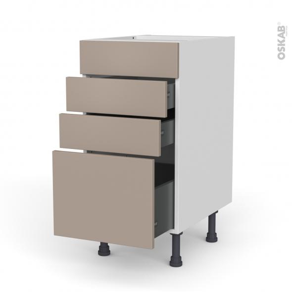 Meuble de cuisine - Casserolier - Faux tiroir haut - GINKO Taupe - 3 tiroirs - L40 x H70 x P58 cm