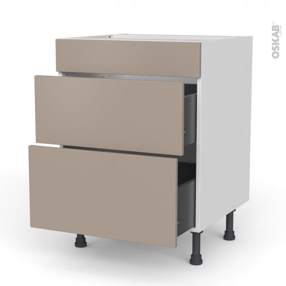 Meuble de cuisine - Casserolier - Faux tiroir haut - GINKO Taupe - 2 tiroirs - L60 x H70 x P58 cm