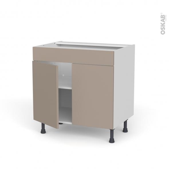 Meuble de cuisine - Bas - Faux tiroir haut - GINKO Taupe - 2 portes - L80 x H70 x P58 cm