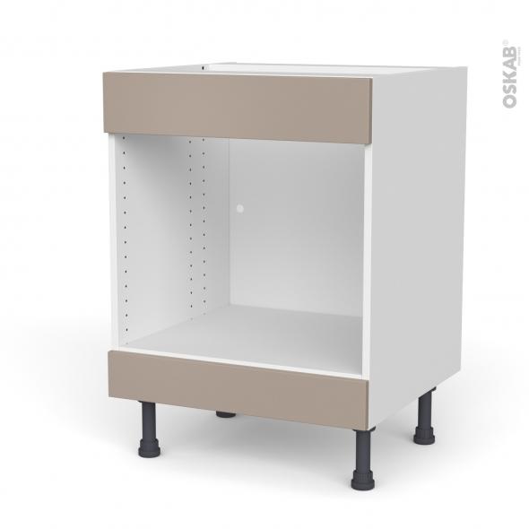 Meuble de cuisine - Bas MO encastrable niche 45 - Faux tiroir haut - GINKO Taupe - L60 x H70 x P58 cm
