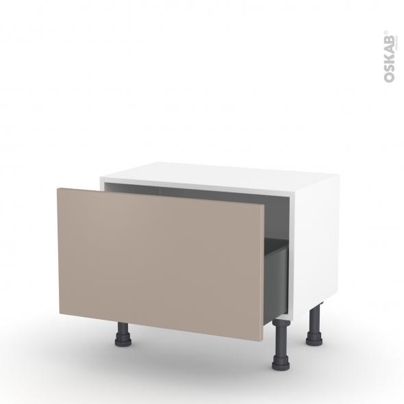 Meuble de cuisine - Bas - GINKO Taupe - 1 casserolier - L60 x H35 x P37 cm