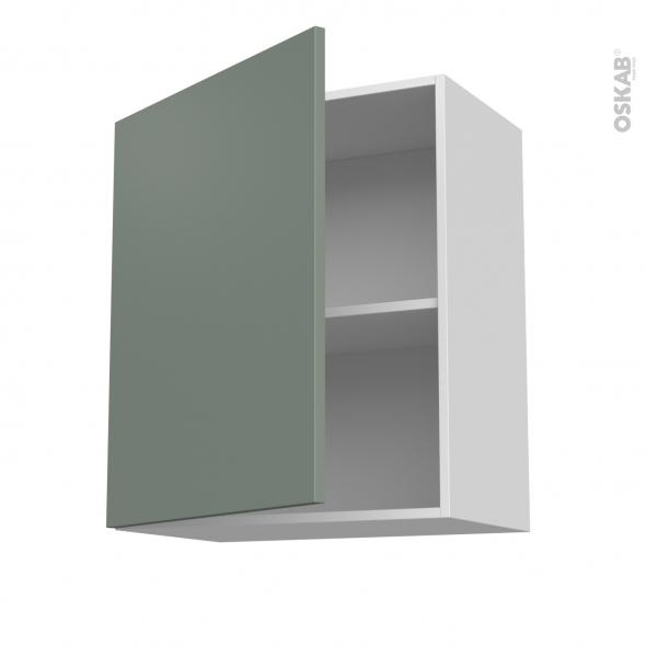 Meuble de cuisine - Sur hotte - Pour hotte encastrable - Haut ouvrant - HELIA Vert - 1 porte - L60 x H70 x P37 cm