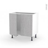 Meuble de cuisine - Sous évier - HODA Béton - 2 portes - L80 x H70 x P58 cm