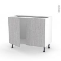 Meuble de cuisine - Sous évier - HODA Béton - 2 portes - L100 x H70 x P58 cm