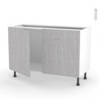 Meuble de cuisine - Sous évier - HODA Béton - 2 portes - L120 x H70 x P58 cm