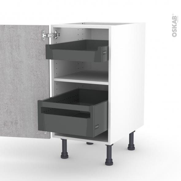 Meuble de cuisine - Bas - HODA Béton - 2 tiroirs à l'anglaise - L40 x H70 x P58 cm