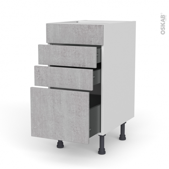 Meuble de cuisine - Casserolier - Faux tiroir haut - HODA Béton - 3 tiroirs - L40 x H70 x P58 cm