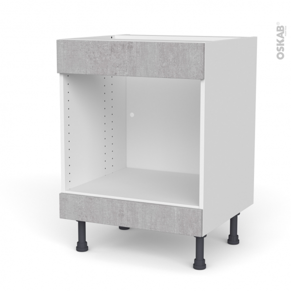 Meuble de cuisine - Bas MO encastrable niche 45 - HODA Béton - 1 tiroir haut - L60 x H70 x P58 cm