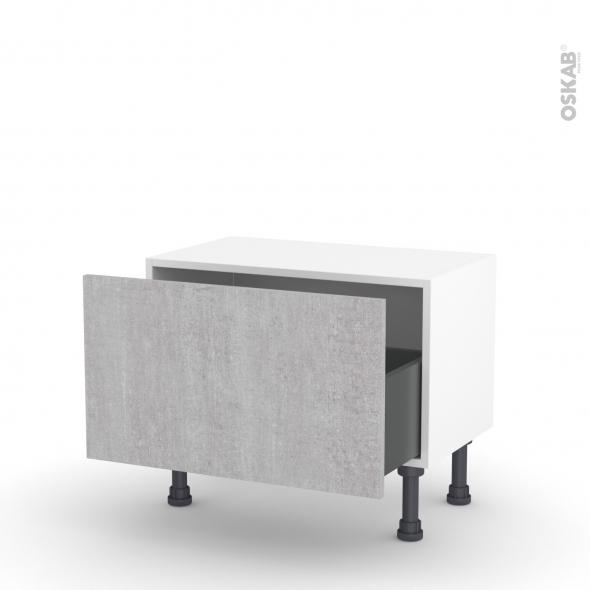 Meuble de cuisine - Bas - HODA Béton - 1 casserolier - L60 x H35 x P37 cm