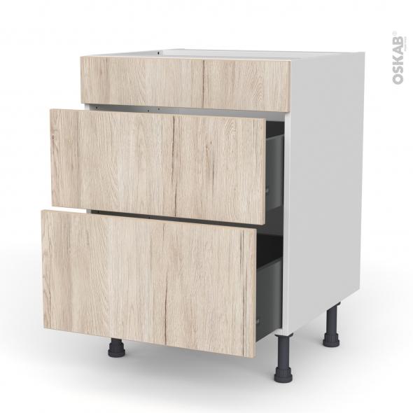 Meuble de cuisine - Casserolier - Faux tiroir haut - IKORO Chêne clair - 2 tiroirs - L60 x H70 x P58 cm