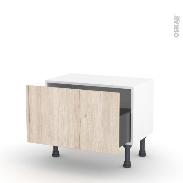 Meuble de cuisine - Bas - IKORO Chêne clair - 1 casserolier - L60 x H35 x P37 cm