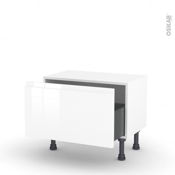 Meuble de cuisine - Bas - IPOMA Blanc brillant - 1 casserolier - L60 x H35 x P37 cm