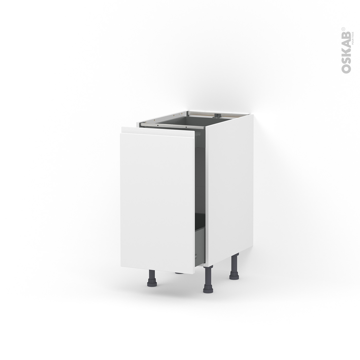 Nettoyer Meuble Cuisine Mat meuble de cuisine bas coulissant ipoma blanc mat, 1 porte 1 tiroir à  l'anglaise, l40 x h70 x p58 cm