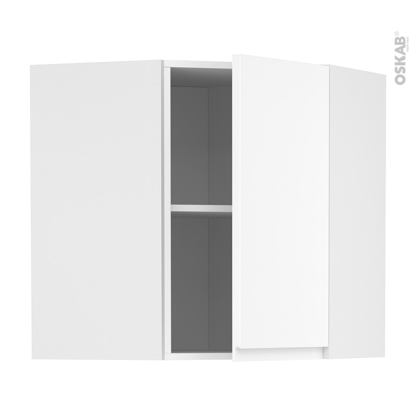 Nettoyer Meuble Cuisine Mat meuble de cuisine angle haut ipoma blanc mat, 1 porte n°85 l40 cm, l65 x  h70 x p37 cm