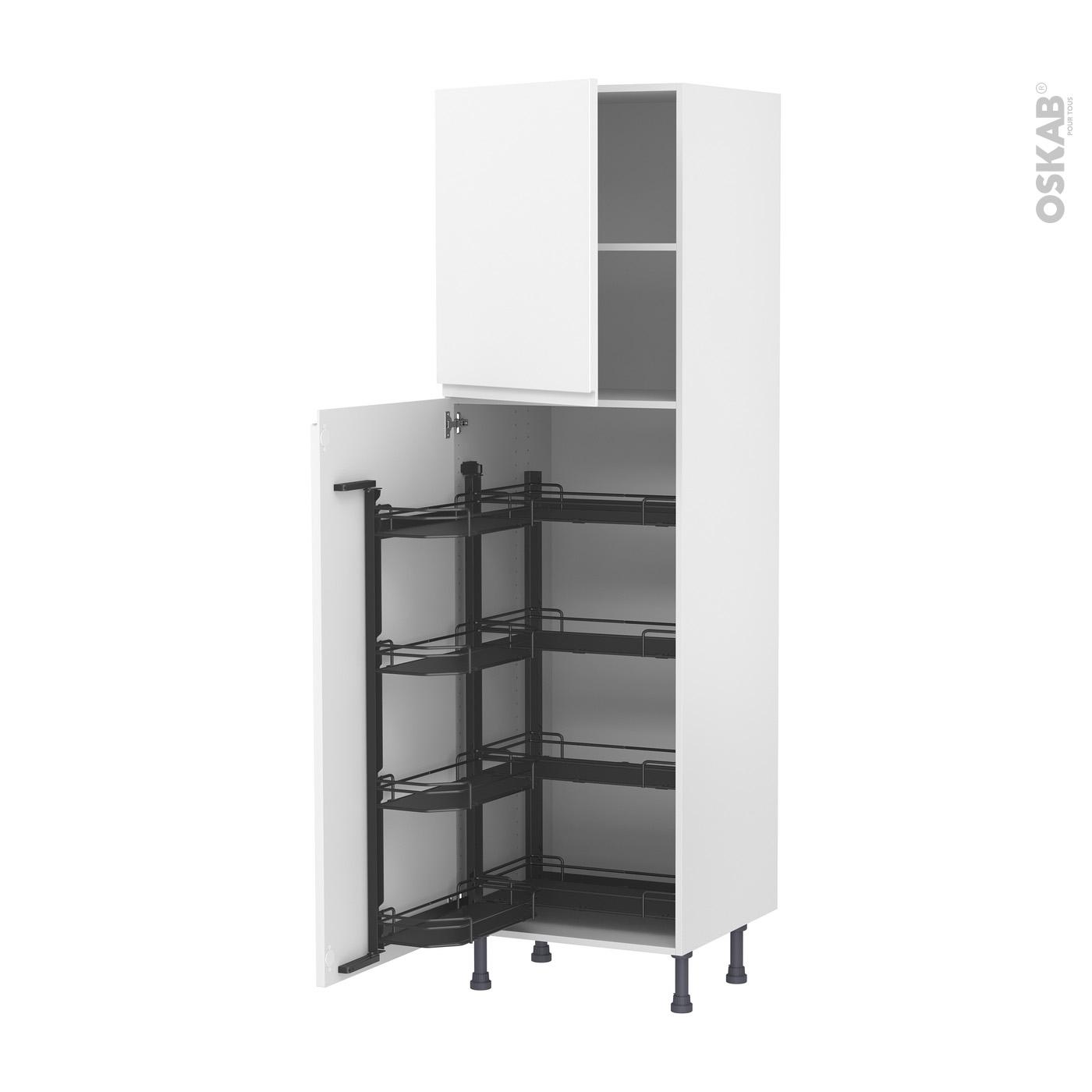 Etagere A Poser Sur Plan Travail colonne de cuisine n°2127 armoire de rangement ipoma blanc mat, 8 paniers  plateaux, l60 x h195 x p58 cm