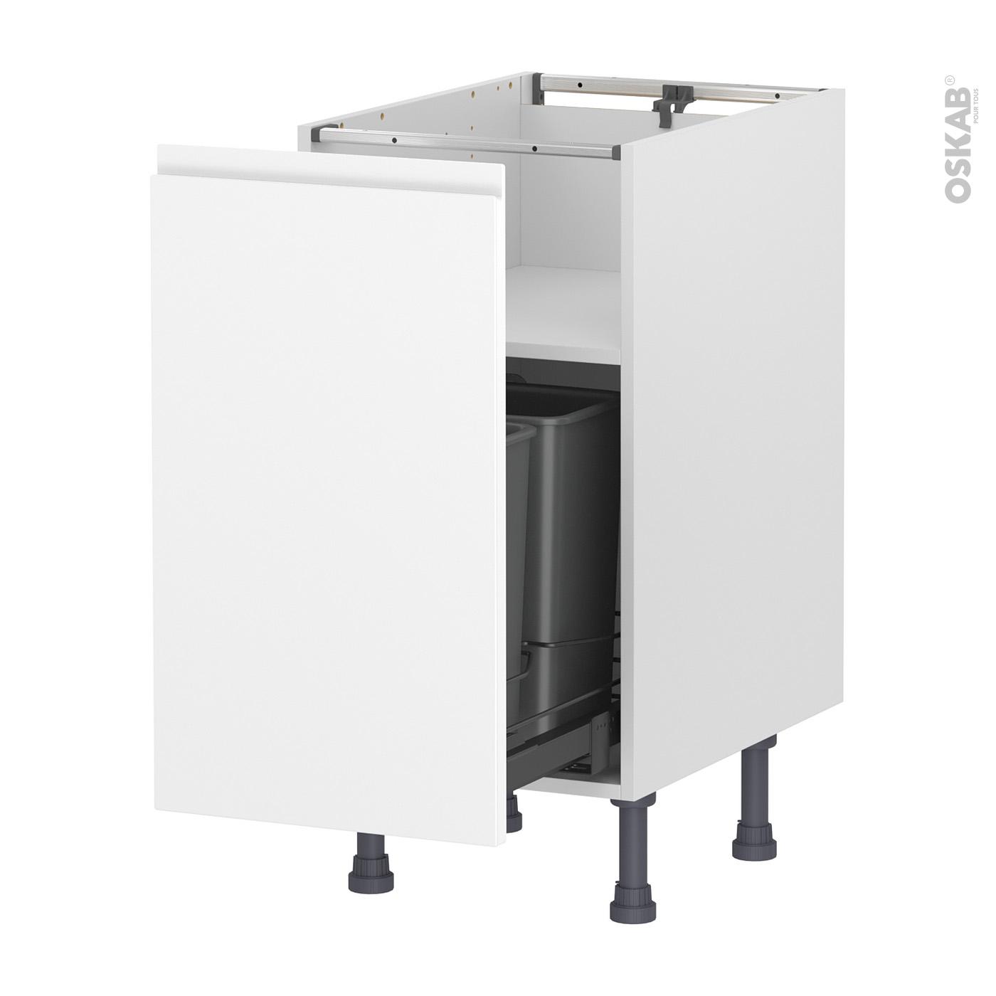 Meuble Cache Poubelle Interieur meuble de cuisine poubelle coulissante ipoma blanc mat, 1 porte, l40 x h70  x p58 cm