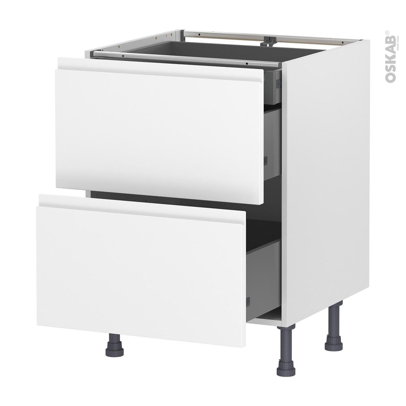Meuble Cuisine Ikea Vide Sanitaire meuble de cuisine casserolier ipoma blanc mat, 2 tiroirs 1 tiroir à  l'anglaise, l60 x h70 x p58 cm