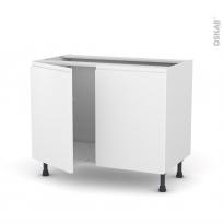 Meuble de cuisine - Sous évier - IPOMA Blanc mat - 2 portes - L100 x H70 x P58 cm