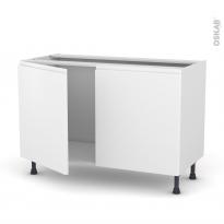 Meuble de cuisine - Sous évier - IPOMA Blanc mat - 2 portes - L120 x H70 x P58 cm