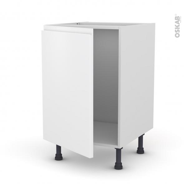 Meuble de cuisine - Sous évier - IPOMA Blanc mat - 1 porte - L50 x H70 x P58 cm