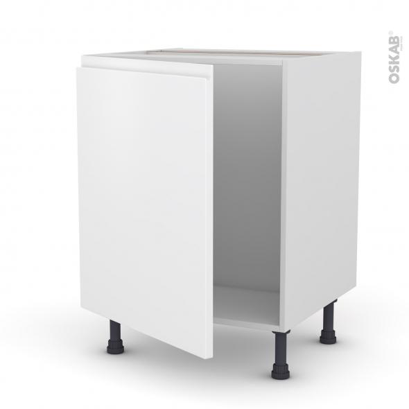 Meuble de cuisine - Sous évier - IPOMA Blanc mat - 1 porte - L60 x H70 x P58 cm