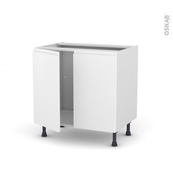 Meuble de cuisine - Sous évier - IPOMA Blanc mat - 2 portes - L80 x H70 x P58 cm