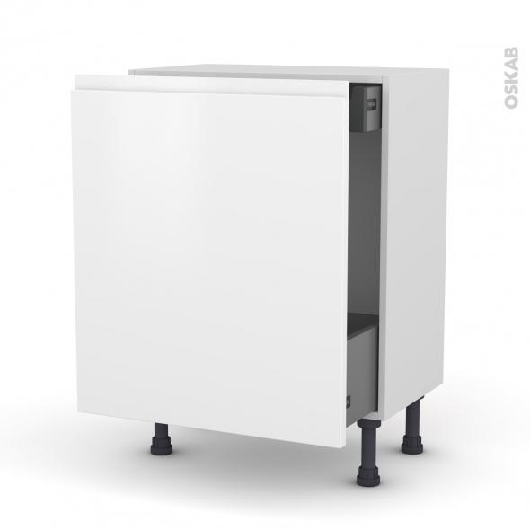 Meuble de cuisine - Bas coulissant - IPOMA Blanc mat - 1 porte 1 tiroir à l'anglaise - L60 x H70 x P37 cm