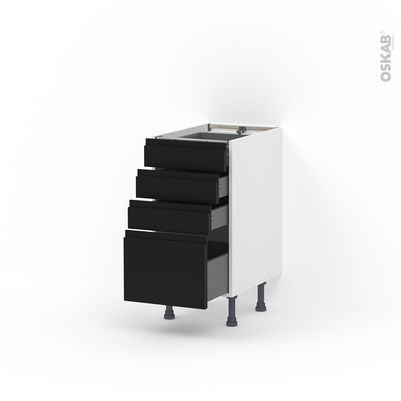 Nettoyer Meuble Cuisine Mat meuble de cuisine casserolier ipoma noir mat, 4 tiroirs, l40 x h70 x p58 cm