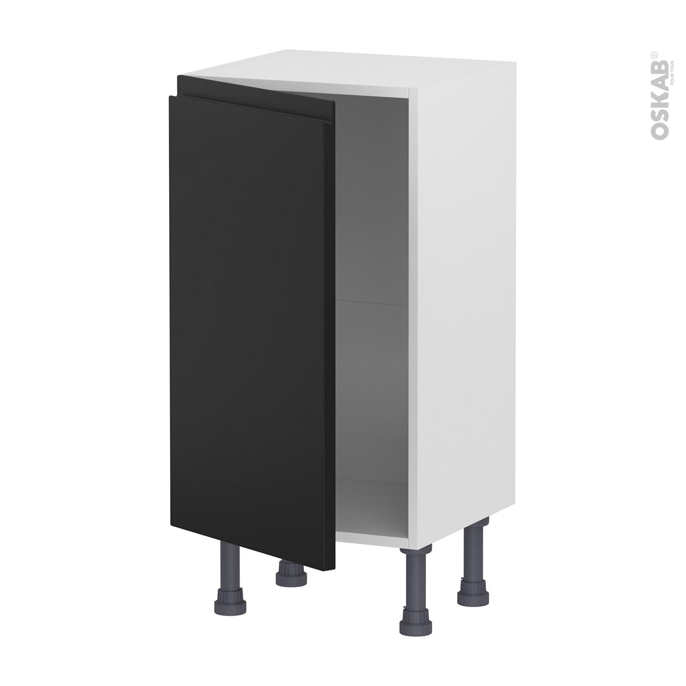 Meuble Bas De Cuisine Noir Laqué meuble de cuisine bas ipoma noir mat, 1 porte, l40 x h70 x p37 cm