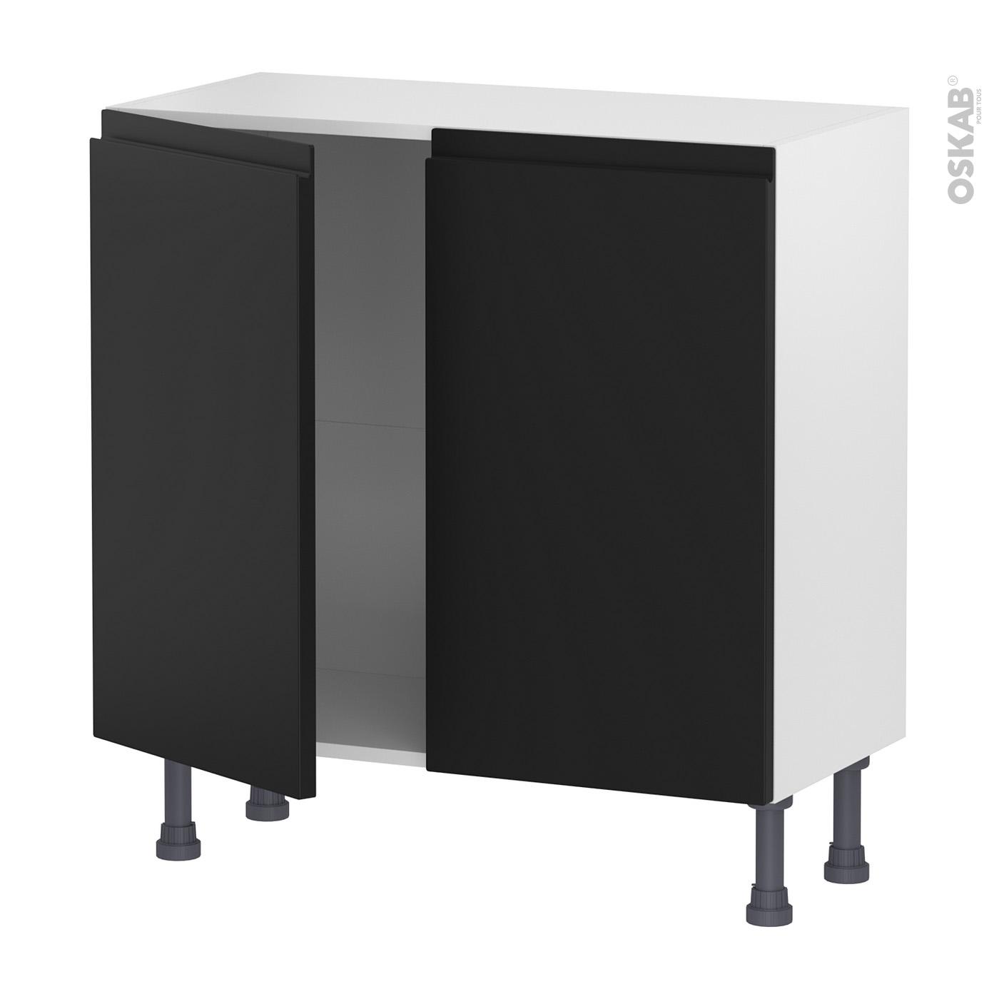 Meuble Bas De Cuisine Noir Laqué meuble de cuisine bas ipoma noir mat, 2 portes, l80 x h70 x p37 cm