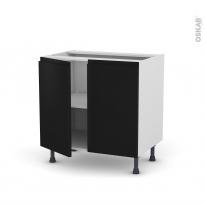 Meuble de cuisine - Sous évier - IPOMA Noir mat - 2 portes - L80 x H70 x P58 cm