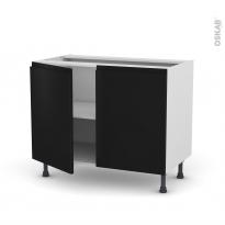 Meuble de cuisine - Sous évier - IPOMA Noir mat - 2 portes - L100 x H70 x P58 cm