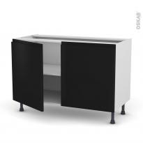 Meuble de cuisine - Sous évier - IPOMA Noir mat - 2 portes - L120 x H70 x P58 cm