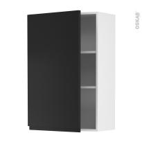 Meuble de cuisine - Haut ouvrant - IPOMA Noir mat - 1 porte - L60 x H92 x P37 cm