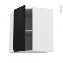 Meuble de cuisine - Angle haut - IPOMA Noir mat - 1 porte N°19 L40 cm - L65 x H70 x P37 cm