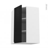 Meuble de cuisine - Angle haut - IPOMA Noir mat - 1 porte N°23 L40 cm - L65 x H92 x P37 cm