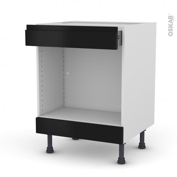 Meuble de cuisine - Bas MO encastrable niche 45 - IPOMA Noir mat - 1 tiroir haut - L60 x H70 x P58 cm