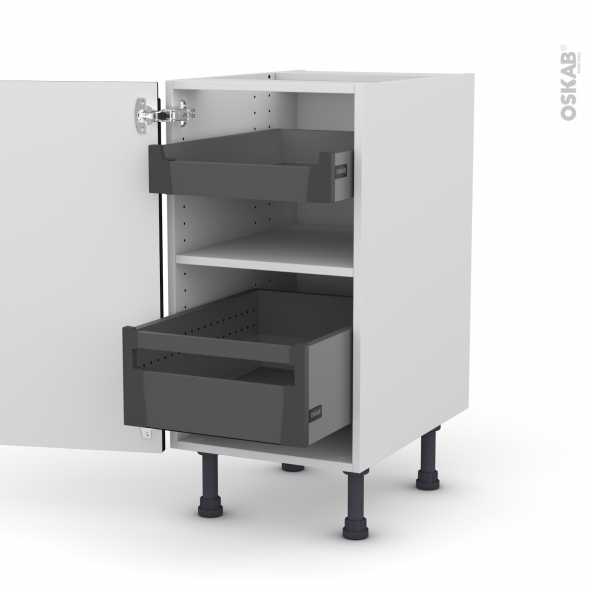 Meuble de cuisine - Bas - IPOMA Noir mat - 2 tiroirs à l'anglaise - L40 x H70 x P58 cm