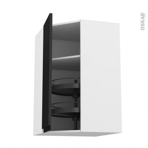 Meuble de cuisine - Angle haut - IPOMA Noir mat - Tourniquet 1 porte N°86 L40 cm - L65 x H92 x P37 cm