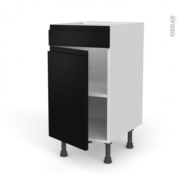 Meuble de cuisine - Bas - Faux tiroir haut - IPOMA Noir mat - 1 porte  - L40 x H70 x P58 cm