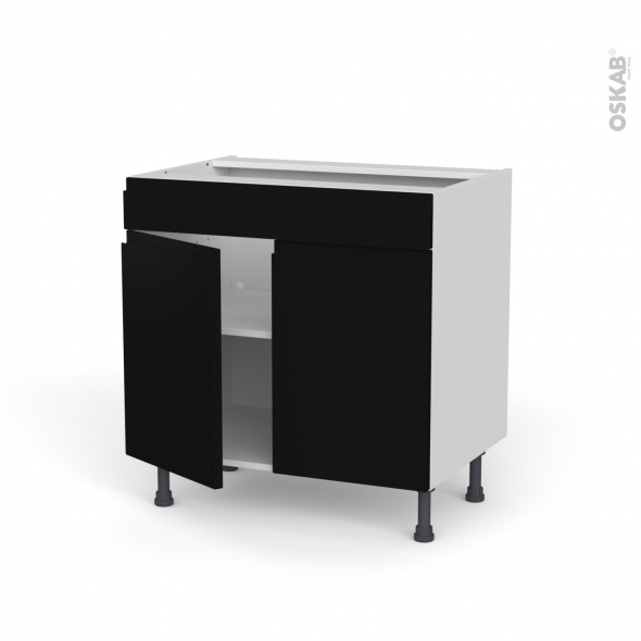 Meuble de cuisine - Bas - Faux tiroir haut - IPOMA Noir mat - 2 portes - L80 x H70 x P58 cm