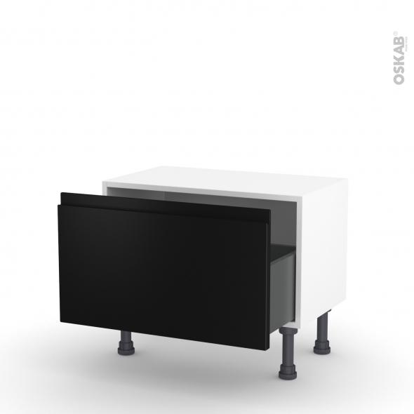 Meuble de cuisine - Bas - IPOMA Noir mat - 1 casserolier - L60 x H35 x P37 cm