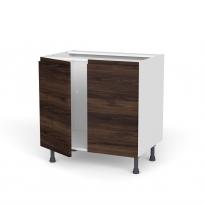 Meuble de cuisine - Sous évier - IPOMA Noyer - 2 portes - L80 x H70 x P58 cm