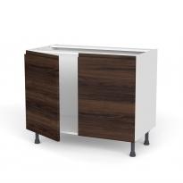 Meuble de cuisine - Sous évier - IPOMA Noyer - 2 portes - L100 x H70 x P58 cm