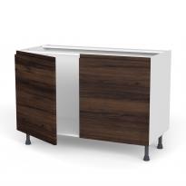 Meuble de cuisine - Sous évier - IPOMA Noyer - 2 portes - L120 x H70 x P58 cm