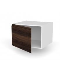 Meuble de cuisine - Bas suspendu - IPOMA Noyer - 1 porte - L60 x H41 x P58 cm