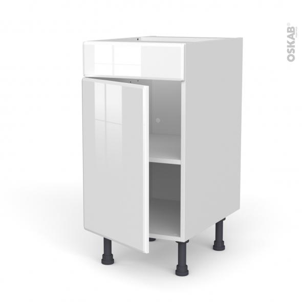 Meuble de cuisine - Bas - Faux tiroir haut - IRIS Blanc - 1 porte  - L40 x H70 x P58 cm