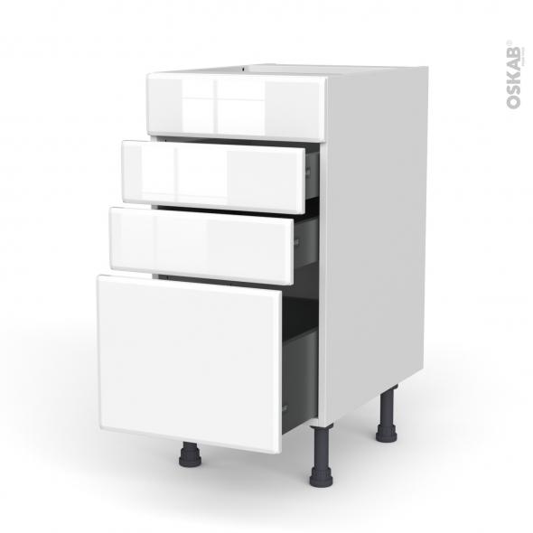 Meuble de cuisine - Casserolier - Faux tiroir haut - IRIS Blanc - 3 tiroirs - L40 x H70 x P58 cm